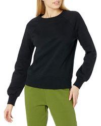 Amazon Essentials Coupe Classique à ches Longues et col Ras-du-Cou Sweat-Shirt - Noir