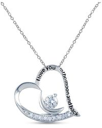 HIKARO Sterling Silver Jewellery Love Moon-and-back Heart Charm Pendant For Teen 21 Mm - Metallic