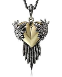 """King Baby Studio - Silver Raven Wings With Alloy Heart Pendant Necklace, 24"""" - Lyst"""