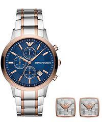 Emporio Armani Quartz Montre avec Bracelet en Acier Inoxydable AR80025 - Bleu