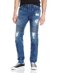 True Religion - Rocco Ripped And Worn Relaxed Skinny Moto Jean - Lyst