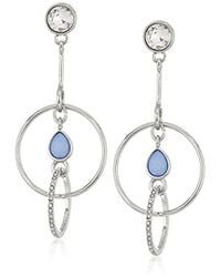 Guess - S Spring Whites Post Drop Earrings With Stones - Lyst