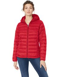 Amazon Essentials Lightweight Water-resistant Packable Hooded Puffer Jacket Down Alternative Coat - Red