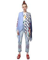 Desigual Poncho Adelaida Woman White Bufanda, Blanco (CRUDO 1001), Talla única para Mujer - Azul