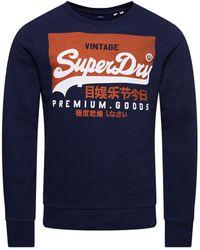 Superdry Sweat Ras-du-Cou Vintage Logo en Coton Biologique Bleu Marine Nautique XS