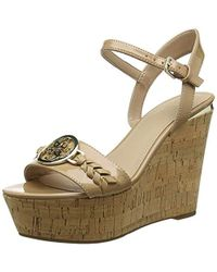 Guess - Gesina2/zeppa (wedge)/leather Open Toe Heels - Lyst