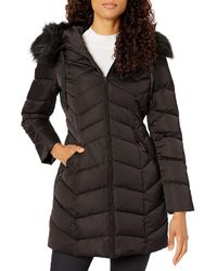 T Tahari Heavy Weight Puffer Coat With Faux Fur Hood - Black