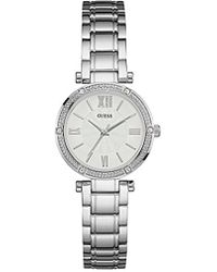 Guess - Dressy Watch With White Dial , Crystal-accented Bezel And Stainless Steel Pilot Buckle - Lyst