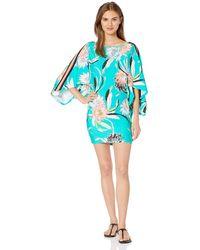 Trina Turk Boat Neck Kimono Sleeve Swimwear Cover Up - Blue
