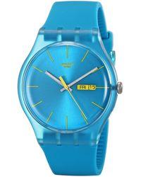 Swatch Armbanduhr Turquoise Rebel Analog Quarz Plastik SUOL700 - Blau