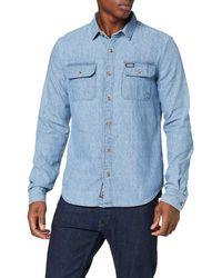 Superdry Merchant Milled Lite L/s Shirt Chemise Casual - Bleu