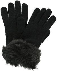 Regatta S/ladies Luz Jersey Knit Fur Trimmer Warm Winter Gloves - Black