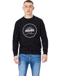 HIKARO Chest Print Crew Neck - Black