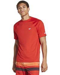 Speedo Uv Swim Shirt Short Sleeve Regular Fit Solid - Red