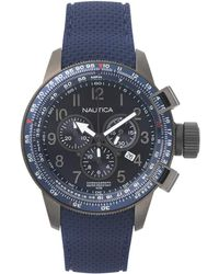 Nautica Damen Analog Quarz Uhr mit Edelstahl Armband NAPPRH010 - Blau