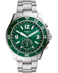 Fossil Hybrid Smartwatch FB-02 con quadrante verde e bracciale in acciaio inossidabile color argento da uomo FTW1308 - Metallizzato