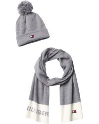 Tommy Hilfiger Logo Hat And Scarf Set - Gray