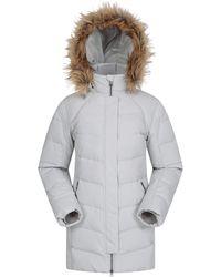 Mountain Warehouse Isla Ii Womens Down Jacket - Fur Hoodie, Two Zipped Pockets, Waterproof Winter Coat -thermal Tested -50 - Natural