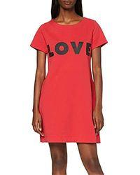 Love Moschino Short Sleeve Dress_Logo Print Kleid - Rot
