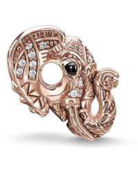 Thomas Sabo Bead Roségold Elefantkopf-Perle Silber vergoldet Zirkonia weiß Onyx - Mehrfarbig