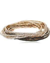 """Guess """"Color Me Pretty Gold 10 Piece Set with Jet Beads Stretch Bracelet - Mettallic"""