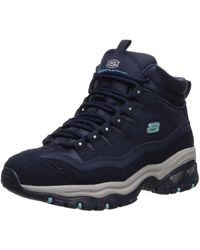 Skechers Energy-cool Rider-suede Overlay Wavy Lace-up Boot Chukka - Blue