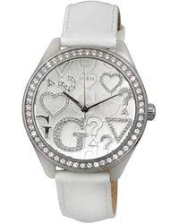 Guess W95139L1 - Reloj para Mujeres, Correa de Cuero Color Blanco - Multicolor