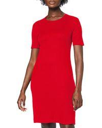 Meraki Slim Fit Rib Summer T-shirt Dress, Red (racing Red), 14 (size: Large)