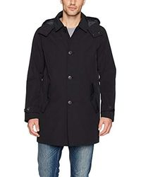 Tommy Hilfiger Hooded Rain Trench Coat With Removable Quilted Liner - Black