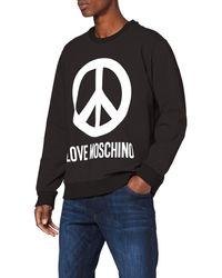 Love Moschino Regular Fit Long Sleeve Sweatshirt_Logo & Peace Prints Felpa, - Nero