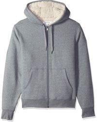 Amazon Essentials Sherpa Lined Full-Zip Hooded Fleece Sweatshirt Novelty-Hoodies - Grigio
