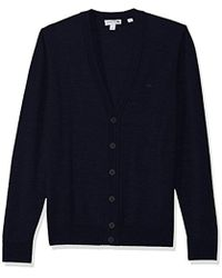 Lacoste Classic Lambswool Cardigan Sweater Tone Croc - Blue