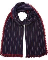Tommy Hilfiger Double Sided Stripes Scarf Echarpe - Bleu