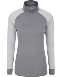 Mountain Warehouse Merino Womens Thermal Baselayer Top - Lightweight, Antibacterial & Breathable Ladies T Shirt - For Winter - Grey