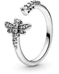 PANDORA 198806C01 Ring Funkelnde Libelle Silber Gr. 52 - Mettallic