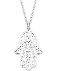 S.oliver Kette 45 cm So Pure mit Hamsa Hand der Fatima Anhänger 925 Silber rhodiniert - Mettallic