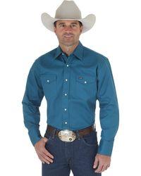 Wrangler Camicia da Lavoro da Uomo Black Forest Green - Blu