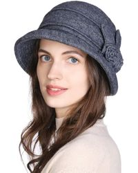 HIKARO Amazon Brand Winter Ladies Wool Bucket Hat 1920s Vintage Style Cloche S Church Dress Casual Hats Spring Autumn Grey