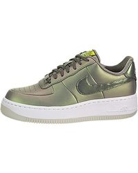 Nike Green Air Force 1 Upstep Iridescent Metallic Leather Trainers