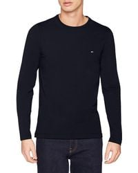 Tommy Hilfiger Stretch Slim Fit Long Sleeve Tee Sport Top - Blue