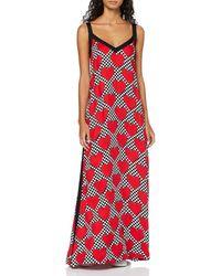Love Moschino Sleeveless Long Dress_Allover Hearts Prints Vestito Donna - Rosso