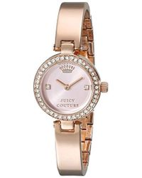 Juicy Couture - 1901226 Luxe Couture Crystal-accented Brass-plated Stainless Steel Bangle Watch - Lyst