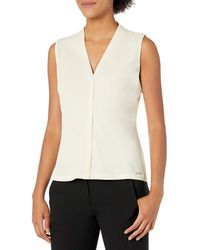 Calvin Klein Solid V-neck Cami - Natural