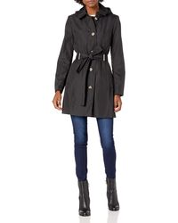 Calvin Klein Button Front Trench Coat With Belt Trenchcoat - Black