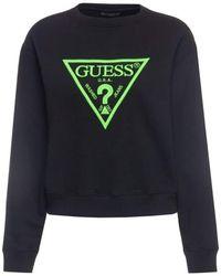 Guess Neon Fleece Sweatshirt à Capuche - Noir