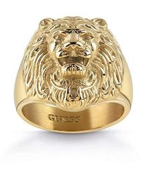Guess Lion Head Ring In Gold Plated Stainless Steel - Metallic