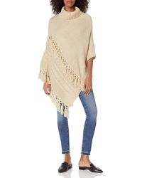 Steve Madden Cable Knit Poncho - Natural