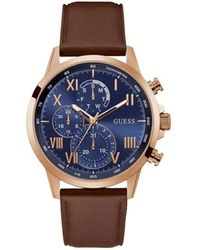 Guess Porter 44mm Brown Leather Band Steel Case Quartz Watch GW0011G4 - Blu