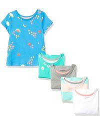 Amazon Essentials Paquete de 5 Camisetas de Moda para Niñas. Playwear-Dresses - Azul