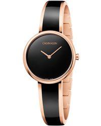 Calvin Klein Reloj Analógico para Mujer de Cuarzo con Correa en Acero Inoxidable K4E2N611 - Negro